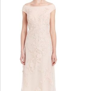 Teri Jon Off Shoulder Lace Evening Gown Pink